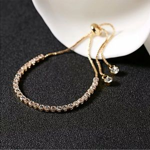 18k Gold Adjustable Dainty Bracelet  with CZ